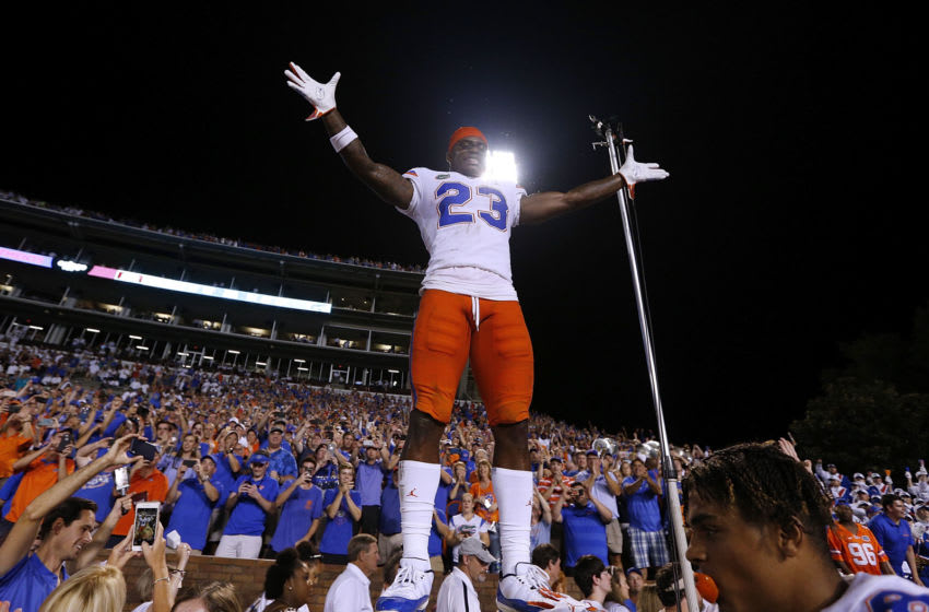 STARKVILLE, MS - SEPTEMBER 29: Chauncey Gardner-Johnson #23 of the Florida Gators celebrates a win over Mississippi State Bulldogs at Davis Wade Stadium on September 29, 2018 in Starkville, Mississippi. (Photo by Jonathan Bachman/Getty Images)