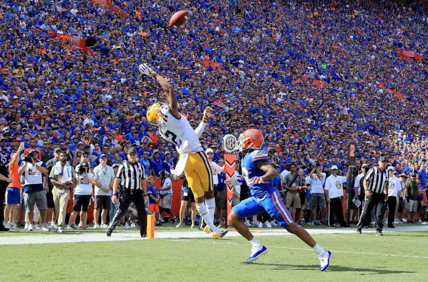 GAINESVILLE, FL - OCTOBER 06: Justin Jefferson #2 of the LSU Tigers attempts a reception against C.J. McWilliams #12 of the Florida Gators during the game at Ben Hill Griffin Stadium on October 6, 2018 in Gainesville, Florida. (Photo by Sam Greenwood/Getty Images)