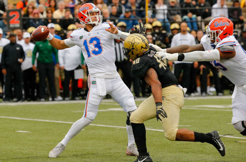 NASHVILLE, TN - OCTOBER 13: Quarterback Feleipe Franks #13 of the Florida Gators throws a pass against the Vanderbilt Commodores during the first half at Vanderbilt Stadium on October 13, 2018 in Nashville, Tennessee. (Photo by Frederick Breedon/Getty Images)