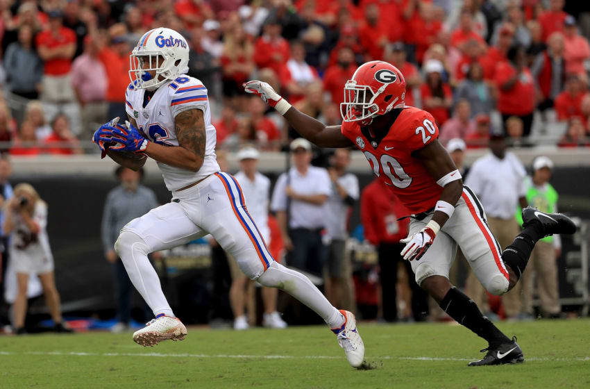 JACKSONVILLE, FL - OCTOBER 27: Freddie Swain #16 of the Florida Gators scores a touchdown during a game against the Georgia Bulldogs at TIAA Bank Field on October 27, 2018 in Jacksonville, Florida. (Photo by Mike Ehrmann/Getty Images)
