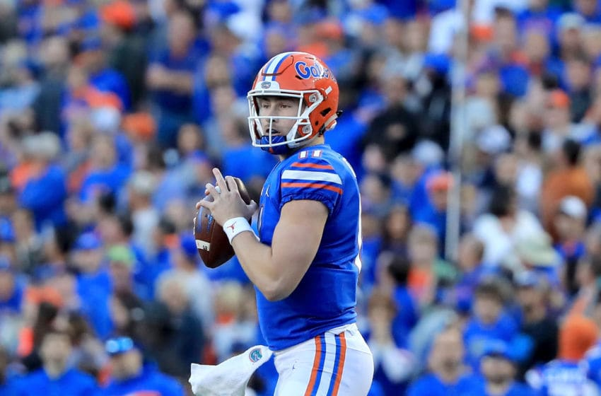 GAINESVILLE, FL - NOVEMBER 03: Kyle Trask #11 of the Florida Gators attempts a pass during the game against the Missouri Tigers at Ben Hill Griffin Stadium on November 3, 2018 in Gainesville, Florida. (Photo by Sam Greenwood/Getty Images)