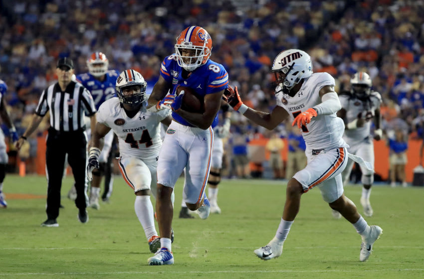 GAINESVILLE, FLORIDA - SEPTEMBER 07: Trevon Grimes #8 of the Florida Gators runs for yardage during the game against the Tennessee Martin Skyhawks at Ben Hill Griffin Stadium on September 07, 2019 in Gainesville, Florida. (Photo by Sam Greenwood/Getty Images)