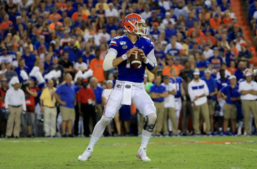 GAINESVILLE, FLORIDA - SEPTEMBER 07: Feleipe Franks #13 of the Florida Gators attempts a pass during the game against the Tennessee Martin Skyhawks at Ben Hill Griffin Stadium on September 07, 2019 in Gainesville, Florida. (Photo by Sam Greenwood/Getty Images)