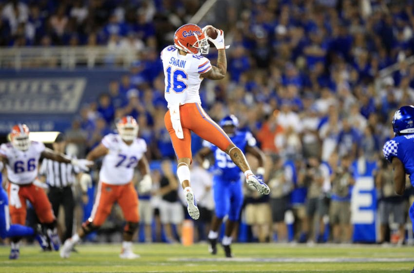 LEXINGTON, KENTUCKY - SEPTEMBER 14: Freddie Swain #16 of the Florida Gators catches a pass against the Kentucky Wildcats at Commonwealth Stadium on September 14, 2019 in Lexington, Kentucky. (Photo by Andy Lyons/Getty Images)