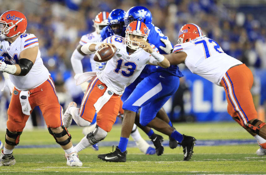 LEXINGTON, KENTUCKY - SEPTEMBER 14: Feleipe Franks #13 of the Florida Gators runs with the ball against the Kentucky Wildcats at Commonwealth Stadium on September 14, 2019 in Lexington, Kentucky. (Photo by Andy Lyons/Getty Images)