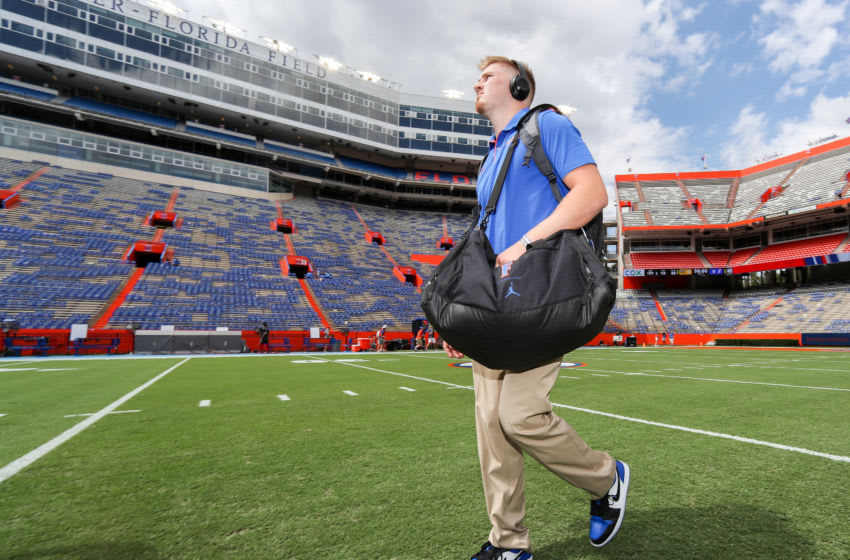 GAINESVILLE, FLORIDA - SEPTEMBER 28: Kyle Trask #11 of the Florida Gators arrives at Ben Hill Griffin Stadium for the game against the Towson Tigers on September 28, 2019 in Gainesville, Florida. (Photo by James Gilbert/Getty Images)