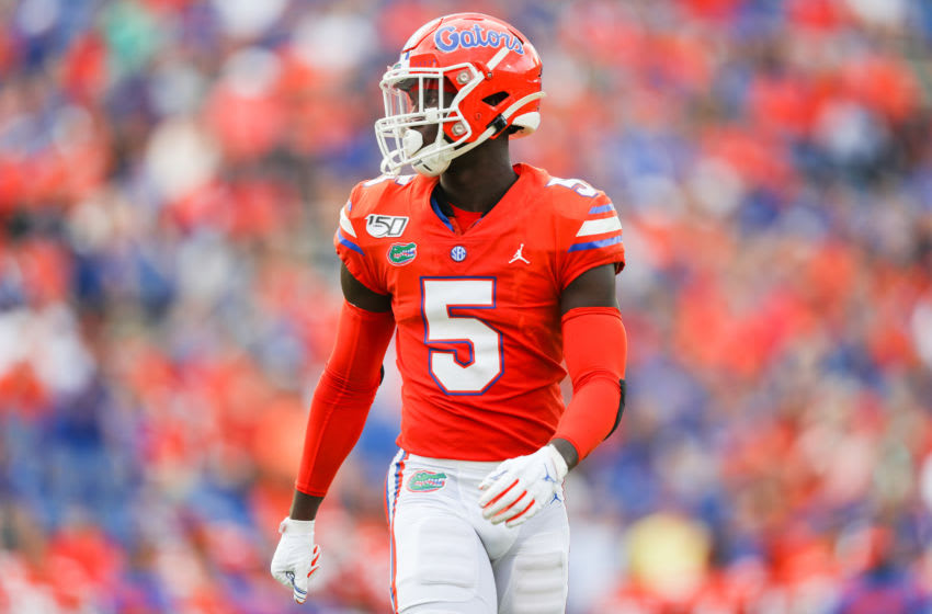 GAINESVILLE, FLORIDA - SEPTEMBER 28: Kaiir Elam #5 of the Florida Gators looks on during the fourth quarter of a game against the Towson Tigers at Ben Hill Griffin Stadium on September 28, 2019 in Gainesville, Florida. (Photo by James Gilbert/Getty Images)