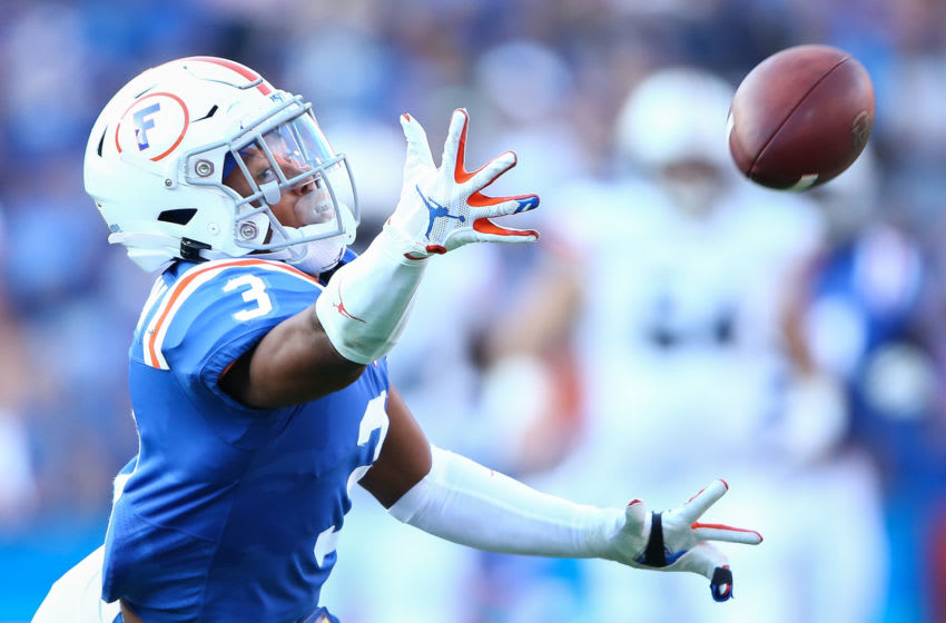 GAINESVILLE, FLORIDA - OCTOBER 05: Marco Wilson #3 of the Florida Gators dives for a ball during the second quarter of a game against the Auburn Tigers at Ben Hill Griffin Stadium on October 05, 2019 in Gainesville, Florida. (Photo by James Gilbert/Getty Images)