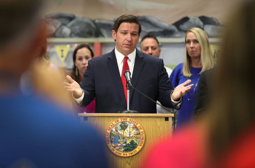 FORT LAUDERDALE, FLORIDA - OCTOBER 07: Florida Gov. Ron DeSantis announces that he wants to raise the minimum starting salary for teachers during a press conference held at Bayview Elementary School on October 07, 2019 in Fort Lauderdale, Florida. The Governor's proposed 2020 budget recommendation will include a pay raise for more than 101,000 teachers in Florida by raising the minimum salary to $47,500. (Photo by Joe Raedle/Getty Images)