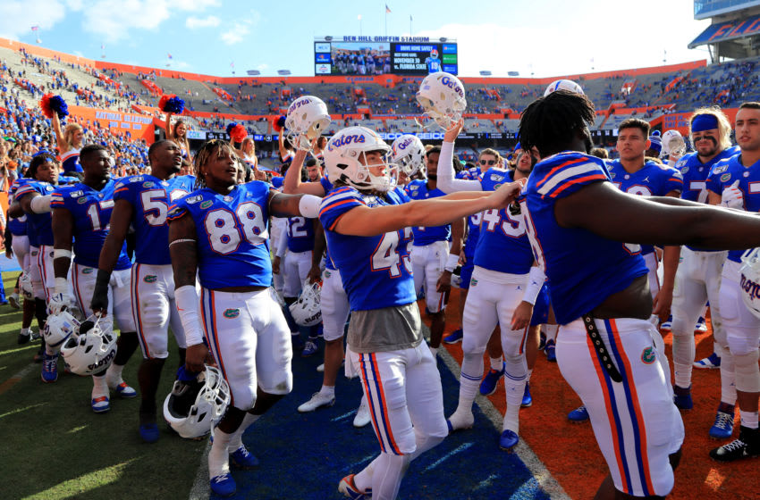 GAINESVILLE, FLORIDA - NOVEMBER 09: Florida Gators players celebrate following the 56-0 victory over the Vanderbilt Commodores at Ben Hill Griffin Stadium on November 09, 2019 in Gainesville, Florida. (Photo by Sam Greenwood/Getty Images)