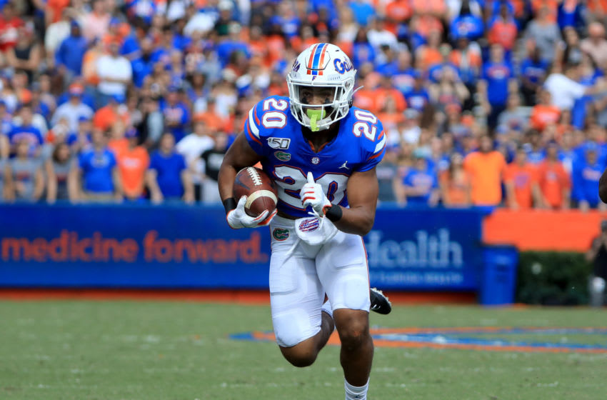 GAINESVILLE, FLORIDA - NOVEMBER 09: Malik Davis #20 of the Florida Gators runs for yardage during the game against the Vanderbilt Commodores at Ben Hill Griffin Stadium on November 09, 2019 in Gainesville, Florida. (Photo by Sam Greenwood/Getty Images)