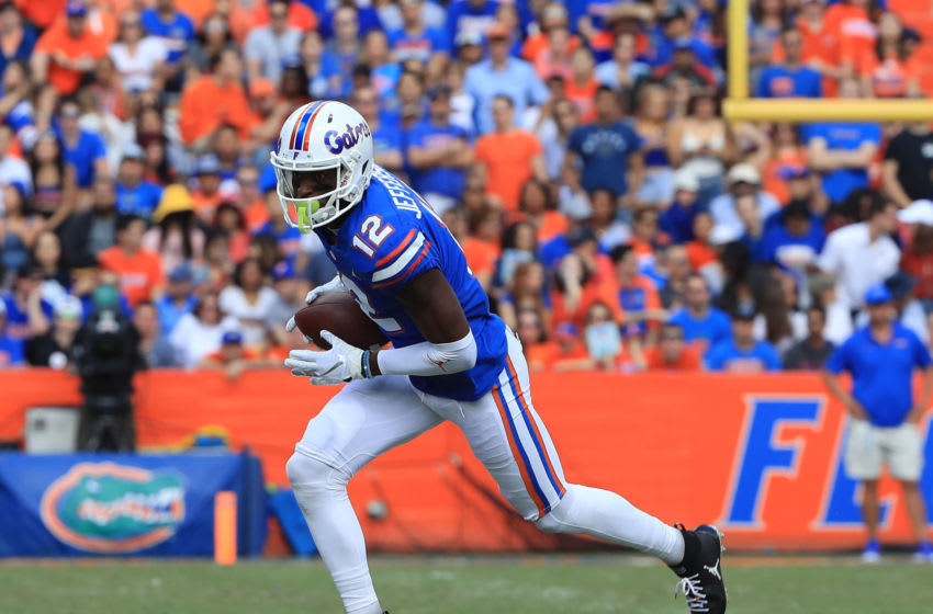 GAINESVILLE, FLORIDA - NOVEMBER 09: Van Jefferson #12 of the Florida Gators runs for yardage during the game against the Vanderbilt Commodores at Ben Hill Griffin Stadium on November 09, 2019 in Gainesville, Florida. (Photo by Sam Greenwood/Getty Images)