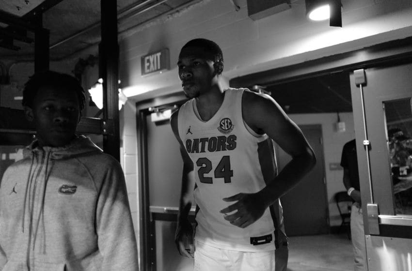 GAINESVILLE, FLORIDA - FEBRUARY 26: (EDITOR'S NOTE: Original image made in monochrome, color version not available) Kerry Blackshear Jr. #24 of the Florida Gators of the Florida Gators heads back to the court before the start of the second half against the LSU Tigers at Stephen C. O'Connell Center on February 26, 2020 in Gainesville, Florida. (Photo by Mark Brown/Getty Images)
