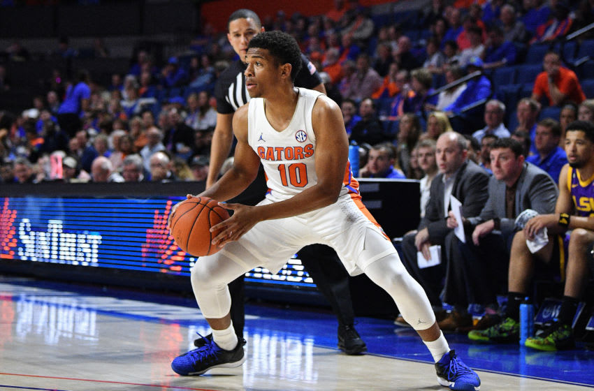GAINESVILLE, FLORIDA - FEBRUARY 26: Noah Locke #10 of the Florida Gators in action against the LSU Tigers at Stephen C. O'Connell Center on February 26, 2020 in Gainesville, Florida. (Photo by Mark Brown/Getty Images)