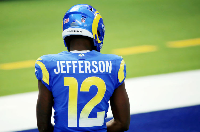 INGLEWOOD, CALIFORNIA - OCTOBER 04: Van Jefferson #12 of the Los Angeles Rams looks on before the game against the New York Giants at SoFi Stadium on October 04, 2020 in Inglewood, California. (Photo by Katelyn Mulcahy/Getty Images)