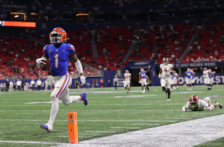 ATLANTA, GEORGIA - DECEMBER 19: Kadarius Toney #1 of the Florida Gators takes in this reception for a touchdown against the Alabama Crimson Tide during the first half of the SEC Championship at Mercedes-Benz Stadium on December 19, 2020 in Atlanta, Georgia. (Photo by Kevin C. Cox/Getty Images)
