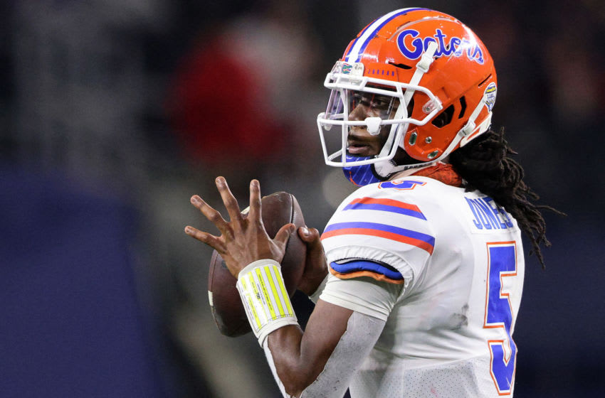 ARLINGTON, TEXAS - DECEMBER 30: Quarterback Emory Jones #5 of the Florida Gators looks to pass against the Oklahoma Sooners during the third quarter at AT&T Stadium on December 30, 2020 in Arlington, Texas. (Photo by Ronald Martinez/Getty Images)