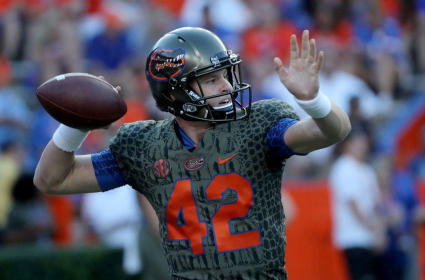 GAINESVILLE, FL - OCTOBER 14: Nick Sproles #42 of the Florida Gators warms up before the game against the Texas A&M Aggies at Ben Hill Griffin Stadium on October 14, 2017 in Gainesville, Florida. (Photo by Sam Greenwood/Getty Images)