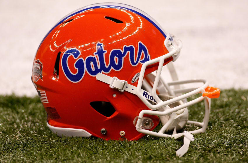 NEW ORLEANS - JANUARY 01: A detailed picture of a Florida Gators helmet before the Gators take on the Cincinnati Bearcats in the Allstate Sugar Bowl at the Louisana Superdome on January 1, 2010 in New Orleans, Louisiana. (Photo by Chris Graythen/Getty Images)