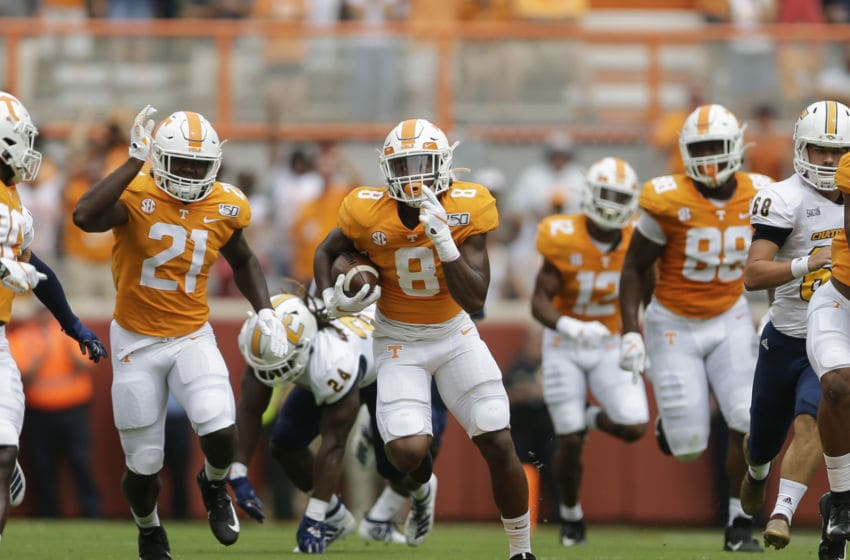 KNOXVILLE, TENNESSEE - SEPTEMBER 14: Ty Chandler #8 of the Tennessee Volunteers runs with the ball against the Chattanooga Mockingbirds during the first quarter at Neyland Stadium on September 14, 2019 in Knoxville, Tennessee. (Photo by Silas Walker/Getty Images)