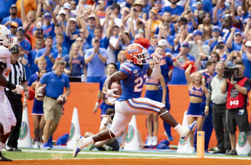 GAINESVILLE, FL- SEPTEMBER 21: Dameon Pierce #27 of the Florida Gators rushes for a ten yard touchdown during the second half of the game against the Tennessee Volunteers at Ben Hill Griffin Stadium on September 21, 2019 in Gainesville, Florida. (Photo by Carmen Mandato/Getty Images)