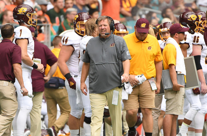 MIAMI, FLORIDA - SEPTEMBER 21: Head Coach Jim McElwain of the Central Michigan Chippewas coaching in the first half against the Miami Hurricanes at Hard Rock Stadium on September 21, 2019 in Miami, Florida. (Photo by Mark Brown/Getty Images)