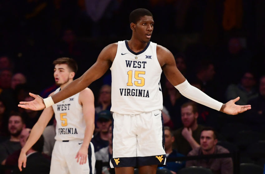 NEW YORK, NEW YORK - DECEMBER 04: Lamont West #15 of the West Virginia Mountaineers reacts after a call during the second half of the game against the Florida Gators at Madison Square Garden on December 04, 2018 in New York City. (Photo by Sarah Stier/Getty Images)