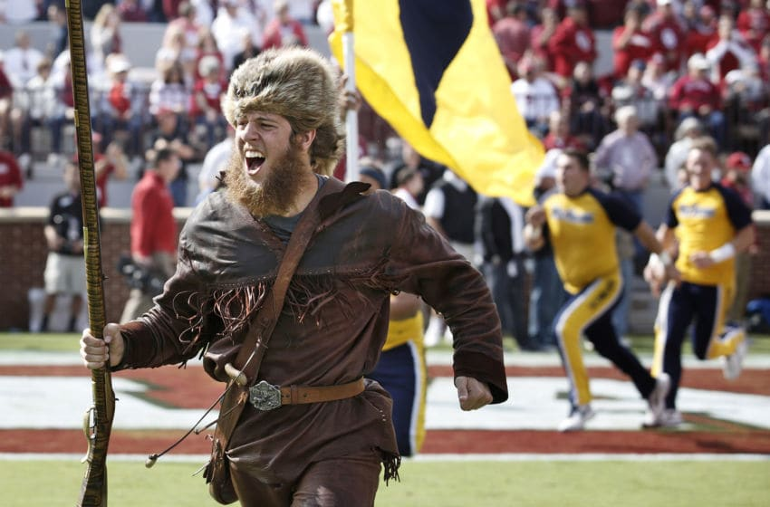 NORMAN, OK - OCTOBER 3: The West Virginia Mountaineer leads the team onto the field before the game against the Oklahoma Sooners October 3, 2015 at Gaylord Family-Oklahoma Memorial Stadium in Norman, Oklahoma. Oklahoma defeated West Virginia 44-24.(Photo by Brett Deering/Getty Images)