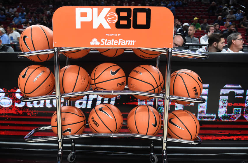PORTLAND, OR - NOVEMBER 23: General view of a rack of basketballs before the between the Portland State Vikings and the Duke Blue Devils during the PK80-Phil Knight Invitational presented by State Farm at the Moda Center on November 23, 2016 in Portland, Oregon. North Carolina won the game 102-78. (Photo by Steve Dykes/Getty Images)