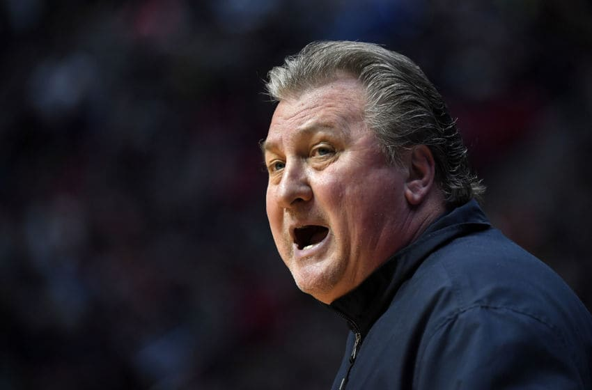 SAN DIEGO, CA - MARCH 16: Head coach Bob Huggins of the West Virginia Mountaineers reacts in the first half against the Murray State Racers during the first round of the 2018 NCAA Men's Basketball Tournament at Viejas Arena on March 16, 2018 in San Diego, California. (Photo by Donald Miralle/Getty Images)
