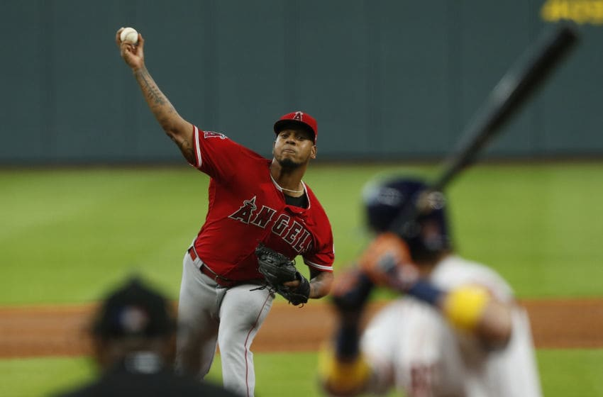 HOUSTON, TX - SEPTEMBER 01: Felix Pena #64 of the Los Angeles Angels of Anaheim pitches in the second inning against the Houston Astros at Minute Maid Park on September 1, 2018 in Houston, Texas. (Photo by Tim Warner/Getty Images)