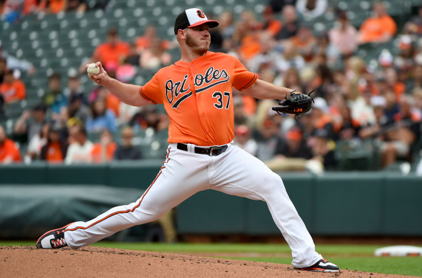 BALTIMORE, MD - MAY 11: Dylan Bundy #37 of the Baltimore Orioles pitches against the Los Angeles Angels during the first inning at Oriole Park at Camden Yards on May 11, 2019 in Baltimore, Maryland. (Photo by Will Newton/Getty Images)