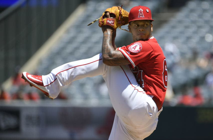 ANAHEIM, CA - JULY 28: Felix Pena #64 of the Los Angeles Angels of Anaheim pitches in the second inning against the Baltimore Orioles at Angel Stadium of Anaheim on July 28, 2019 in Anaheim, California. (Photo by John McCoy/Getty Images)