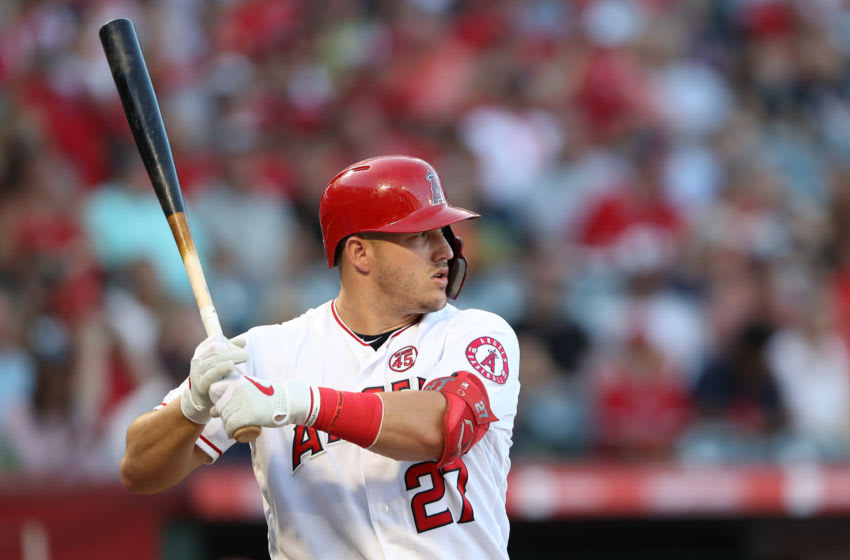 Mike Trout of the LA Angels. (Photo by Sean M. Haffey/Getty Images)