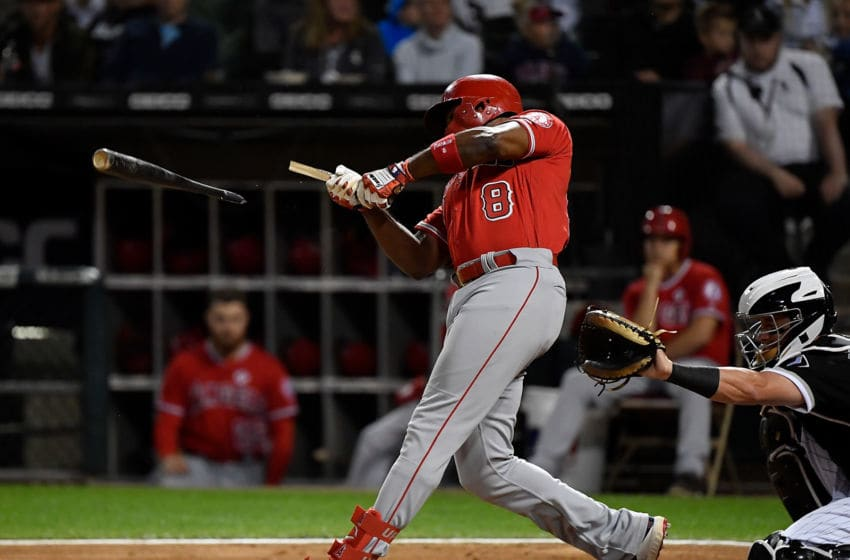 CHICAGO, ILLINOIS - SEPTEMBER 06: Justin Upton #8 of the Los Angeles Angels of Anaheim breaks his bat in the second inning against the Chicago White Sox at Guaranteed Rate Field on September 06, 2019 in Chicago, Illinois. (Photo by Quinn Harris/Getty Images)