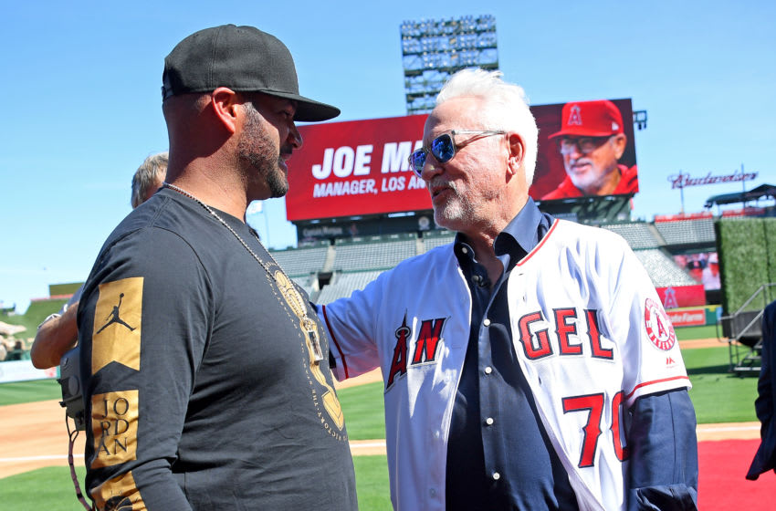 ANAHEIM, CA - OCTOBER 24: Albert Pujols #5 of the Los Angeles Angels speaks with new team manager Joe Madden after he was introduced today as the new manager of the Los Angeles Angels during a press conference at Angel Stadium of Anaheim on October 24, 2019 in Anaheim, California. (Photo by Jayne Kamin-Oncea/Getty Images)