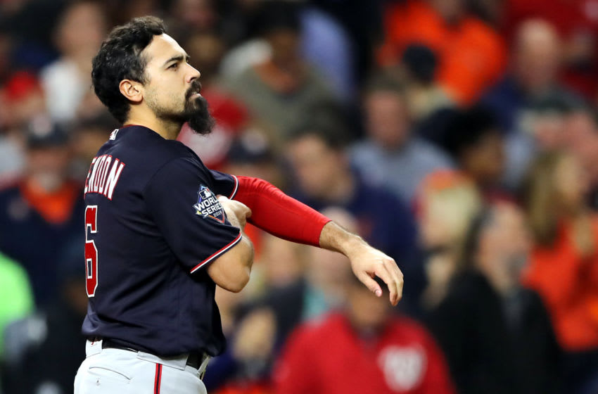 HOUSTON, TEXAS - OCTOBER 30: Anthony Rendon #6 of the Washington Nationals strikes out against the Houston Astros during the fourth inning in Game Seven of the 2019 World Series at Minute Maid Park on October 30, 2019 in Houston, Texas. (Photo by Elsa/Getty Images)