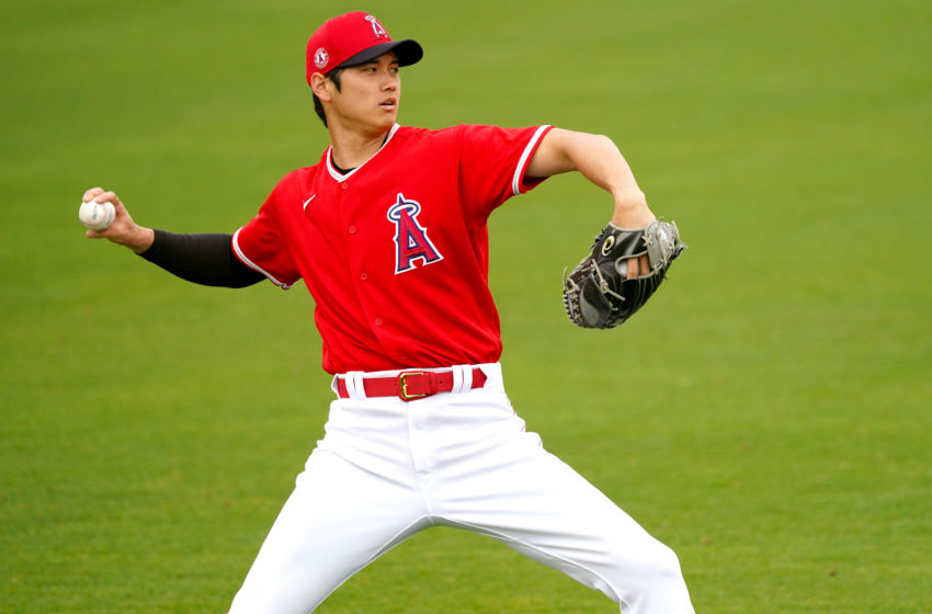 LA Angels star Shohei Ohtani in action in February. (Photo by Masterpress/Getty Images)