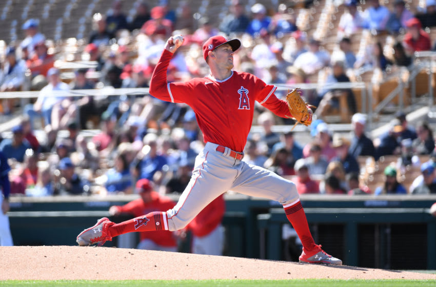GLENDALE, ARIZONA - FEBRUARY 26: Griffin Canning #74 of the Los Angeles Angels delivers a first inning pitch against the Los Angeles Dodgers during a spring training game at Camelback Ranch on February 26, 2020 in Glendale, Arizona. (Photo by Norm Hall/Getty Images)