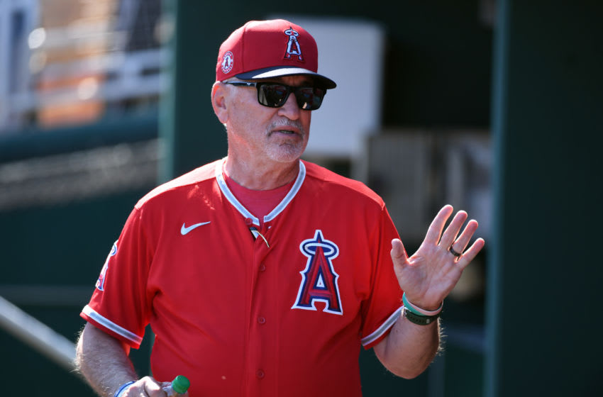 Manager Joe Maddon, Los Angeles Angels (Photo by Norm Hall/Getty Images)