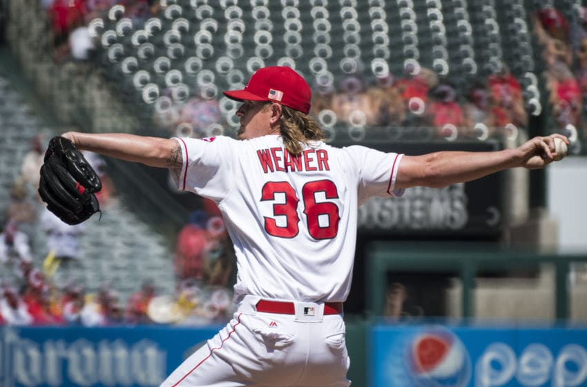 ANAHEIM, CA - SEPTEMBER 11: Starter Jered Weaver #36 of the Los Angeles Angels of Anaheim pitches during the first inning of the game against the Texas Rangers at Angel Stadium of Anaheim on September 11, 2016 in Anaheim, California. (Photo by Matt Brown/Angels Baseball LP/Getty Images)