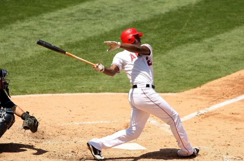 ANAHEIM, CA - AUGUST 12: Gary Matthews Jr. #24 of the Los Angeles Angels of Anaheim bats against the Tampa Bay Rays on August 12, 2009 at Angel Stadium in Anaheim, California. The Angels won 10-5. (Photo by Stephen Dunn/Getty Images)