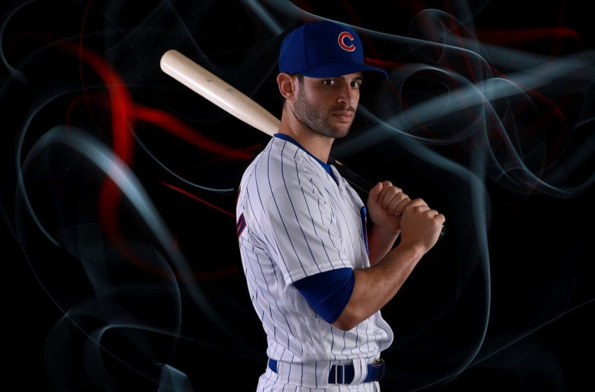 MESA, AZ - FEBRUARY 20: Tommy La Stella #2 of the Chicago Cubs poses during Chicago Cubs Photo Day on February 20, 2018 in Mesa, Arizona. (Photo by Gregory Shamus/Getty Images)