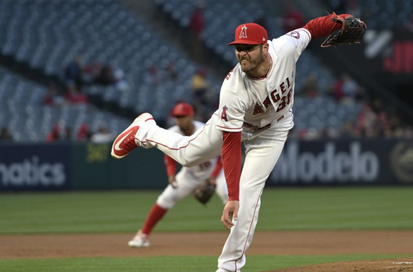 ANAHEIM, CA - MAY 01: Nick Tropeano #35 of the Los Angeles Angels of Anaheim on the mound in the first inning against Baltimore Orioles at Angel Stadium on May 1, 2018 in Anaheim, California. (Photo by John McCoy/Getty Images)