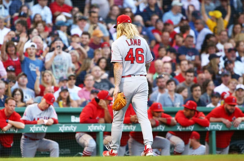 BOSTON, MA - JUNE 26: John Lamb #46 of the Los Angeles Angels walks to the dugout after he is taken out of the game after giving up five runs in the first two inning of a game against the Boston Red Sox at Fenway Park on June 26, 2018 in Boston, Massachusetts. (Photo by Adam Glanzman/Getty Images)