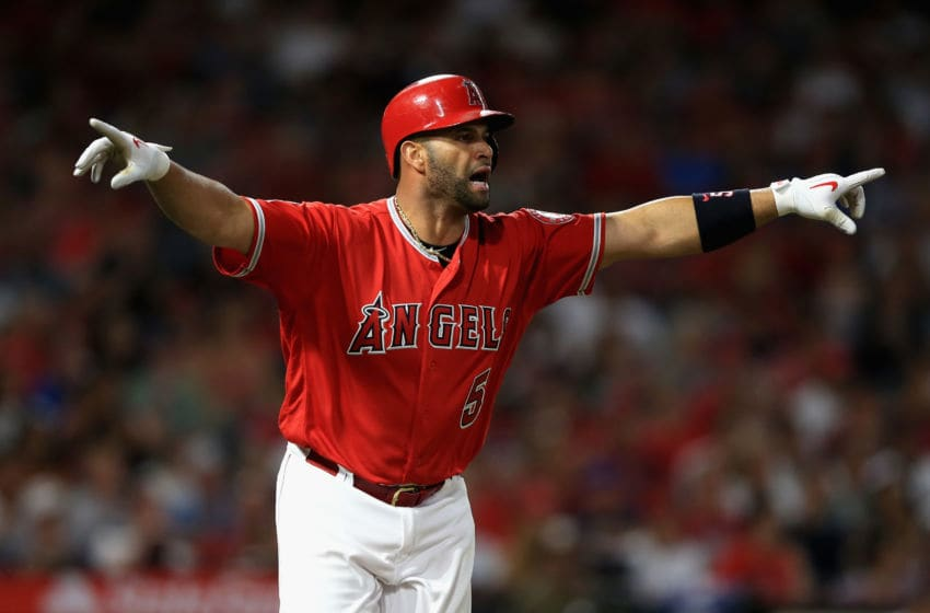 ANAHEIM, CA - JULY 12: Albert Pujols #5 of the Los Angeles Angels of Anaheim reacts after hitting a single during the fifth inning of a game against the Seattle Mariners at Angel Stadium on July 12, 2018 in Anaheim, California. (Photo by Sean M. Haffey/Getty Images)