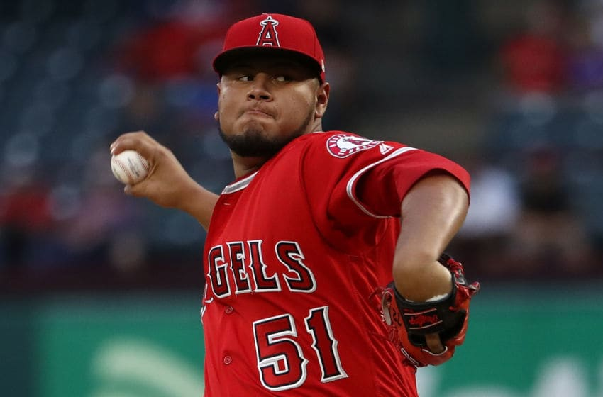 ARLINGTON, TX - SEPTEMBER 05: Jaime Barria #51 of the Los Angeles Angels throws against the Texas Rangers in the first inning at Globe Life Park in Arlington on September 5, 2018 in Arlington, Texas. (Photo by Ronald Martinez/Getty Images)