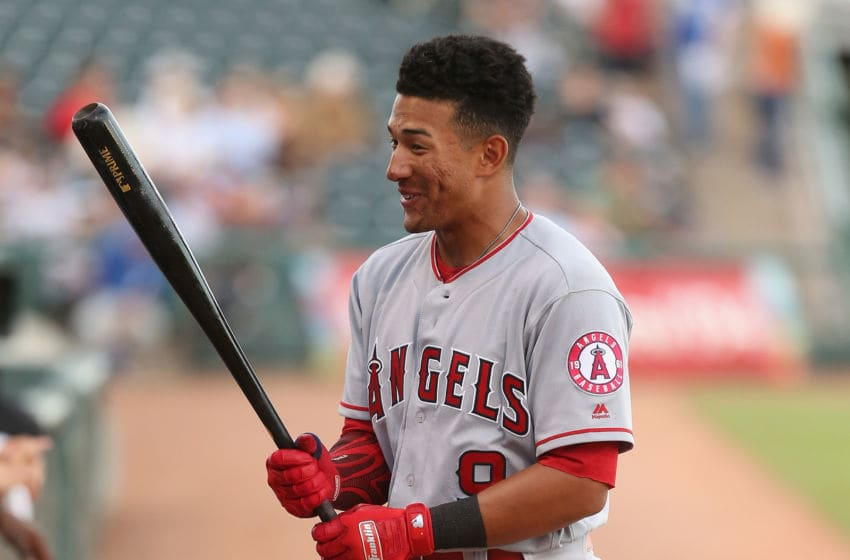 SURPRISE, AZ - NOVEMBER 03: AFL East All-Star, Jahmai Jones #9 of the Los Angeles Angels waits on deck during the Arizona Fall League All Star Game at Surprise Stadium on November 3, 2018 in Surprise, Arizona. (Photo by Christian Petersen/Getty Images)