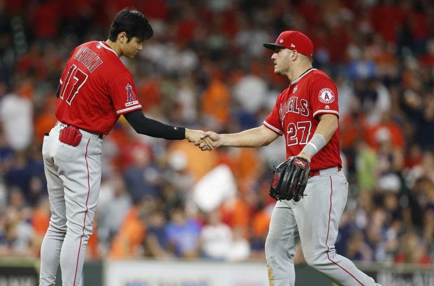 Shohei Ohtani, Los Angeles Angels of Anaheim, Mike Trout. (Photo by Bob Levey/Getty Images)