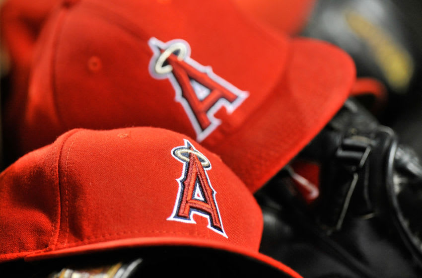 Los Angeles Angels hats (Photo by G Fiume/Getty Images)